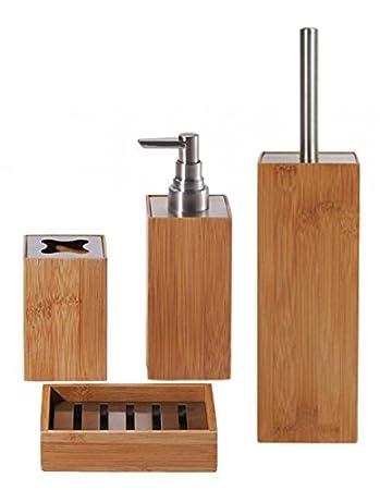 4-tlg. Bad-Set - KYOTO - Bambus - Seifenablage - Toilettenbürste ... | {Seifenspender holz 53}