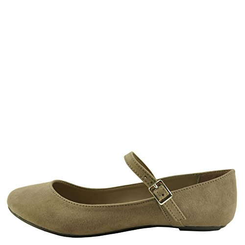 Bambou Chant 30v Féminin Ballet Occasionnel Mary Jane Appartements Taupe