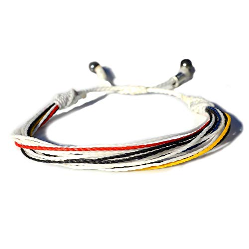 String Bracelet in Colors White, Black, Red, Blue and Yellow: Mens and Womens Nylon Cord Sports Fan Soccer Bracelet with Hematite Stones by Rumi Sumaq