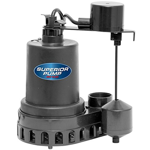 Superior Pump 92572 1/2 HP Thermoplastic Submersible Sump Pump with Vertical Float - 0.5 Submersible Pump Hp