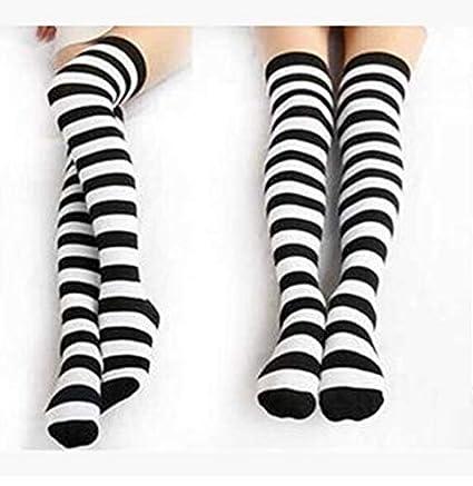 FUWUX Home Calcetines de algodón con Estampado de Cebra de algodón con Rayas en Blanco y