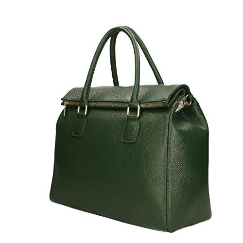 37x30x15 Vert main Aren cuir Italy véritable Sac Cm Made in femme en à vxfxBwUqgH