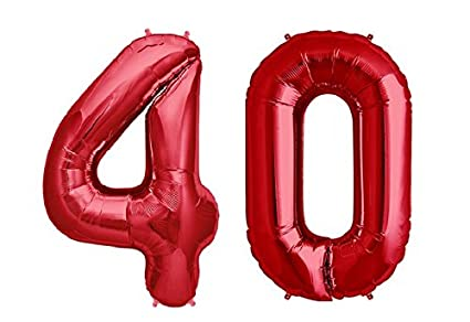 C Spin 40 INCH Big Large Red Number Foil Balloon 40quot 40th Birthday