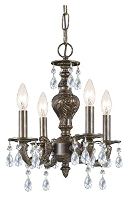 Crystorama 5024-VB-CL-MWP, Sutton Mini Crystal Chandelier Lighting, 4 Light, 240 Watts, Bronze