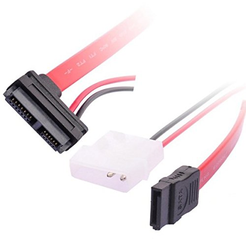 Calvas SATA 7+6 Pin Female to SATA 7 Pin Female Data Cable+2 Pin Power Cable,0.5M//1.5FT