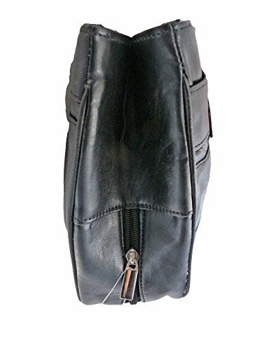Borsa A Mano Pelle Morbida Nera - 9 Tasche + Ombrello - Borsa a Tracolla 2 Manici Donna 3 Sezioni Principale Grande - Medio Dimensioni Pratiche Da Donna Borse Da Quenchy London QL172