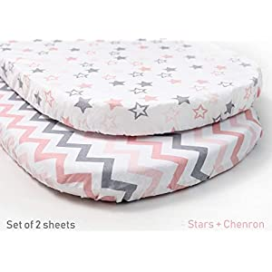 Sofia Amber Baby Bassinet Sheets Oval Fitted – Bassinet Sheet Set 2 Pack – Bassinet Fitted Sheets – Oval Bassinet Sheets Girl 100% Organic Cotton – Compatible with Halo Chicco Miclassic Uppababy