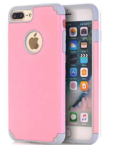 iPhone 7 Plus Case,CaseHQ Extreme Heavy Duty Protective soft rubber TPU PC Bumper Case Anti-Scratch Shockproof Rugged Protection Cover for apple iPhone 7 Plus phone pink/gray