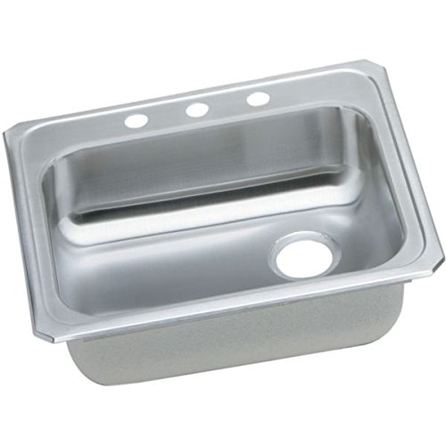 Right Rear Drain - Elkao|#Elkay GECR2521RMR2 Elkay 20 Gauge SS 25 Inch x 21.25 Inch x 5.375 Inch single Bowl Top Mount Kitchen Sink, with Rear Right Drain Hole.,