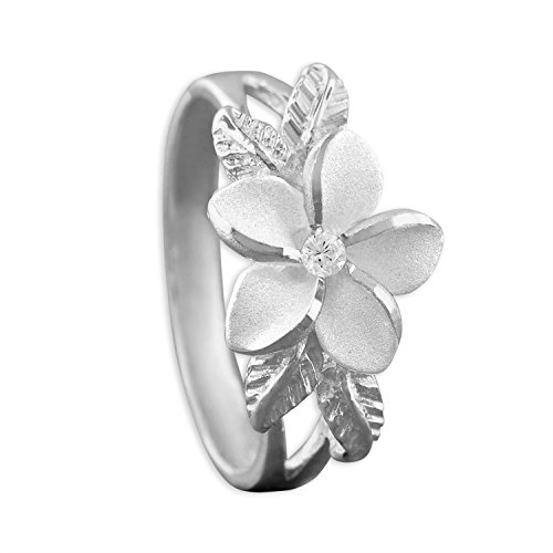 Ring Flowers Hawaiian (Sterling Silver Synthetic CZ Plumeria and Maile Leaf Ring Size 7)