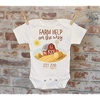 Farm Help On The Way Barn Customized Onesie®, Baby Shower Gift, Customized Onesie, Pregnancy Announcement, Pregnancy Reveal Onesie