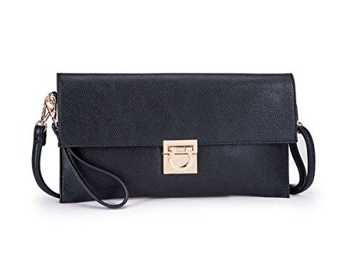 Large Faux Leather Envelope Clutch Evening Bag YS046 Black