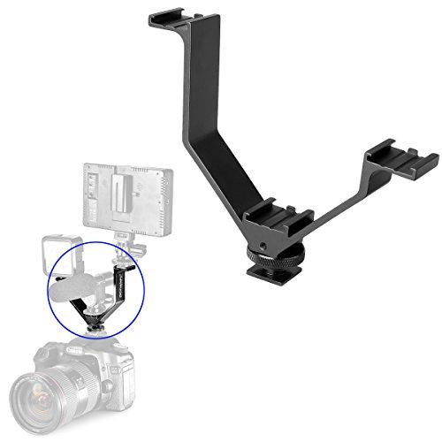 "Kamisafe V-Bracket 5""/12.5cm Aluminum Alloy V-Shape Triple 3 Universal Cold Shoe Hot Shoe Mount Bracket Compatible with Nikon Canon DSLR Camera Camcorder LED Light Microphone Monitor Flash Magic Arm"