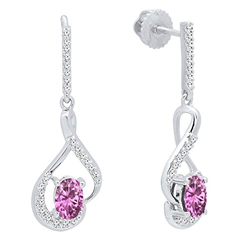 Dazzlingrock Collection 14K 6X4 MM Oval Pink Sapphire & Round White Diamond Ladies Dangling Earrings, White Gold
