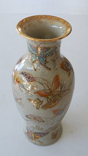 Vintage Porcelain Vase 12 Inch Chinese Butterfly Satsuma Hand Painted Pottery (Painted Pottery Vase)