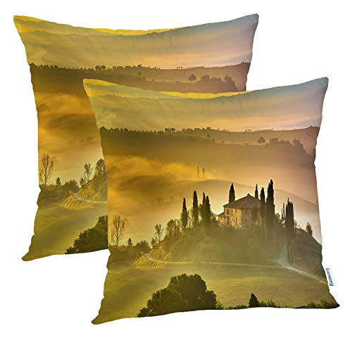 Batmerry Farmhouse Pillow Covers 18x18 Inch Set of 2, Green Olive Tuscany Italy Landscape Tree Italian Scenery Double Sided Square Pillow Cases Pillowcase Sofa Cushion ()