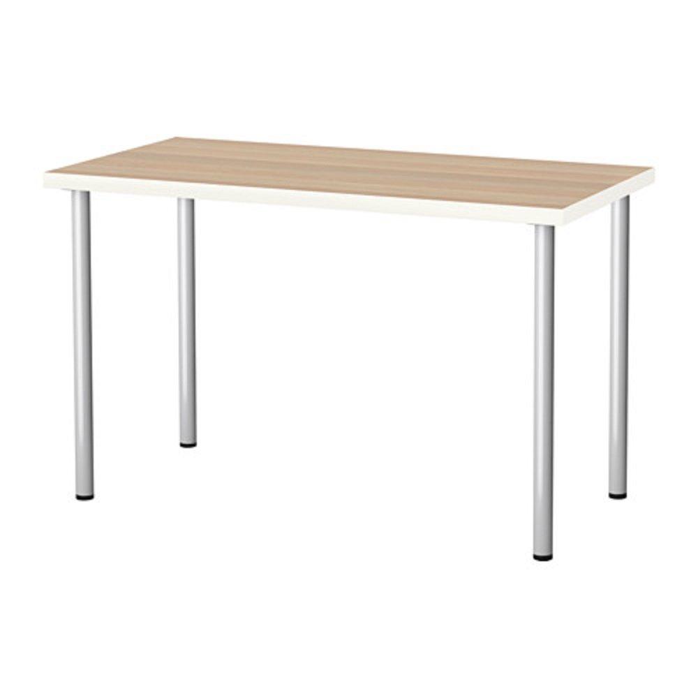 IKEA/イケア LINNMON /ADILS:テーブル120x60 cm ホワイトステインオーク調/シルバーカラー (89214192) B073S4NWFW