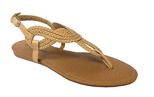 Redvolution Women's Braided Gladiator Sandal New T-Strap Thong Flat Sandal | 8016 (9, Nude) by Redvolution (Image #3)