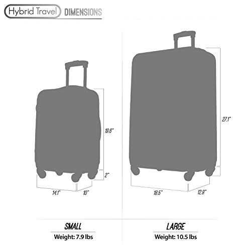 2 PC Luggage Set Durable Lightweight Hard Case Spinner Suitecase LUG2 RA8713 CHAMPAGNE by HyBrid & Company (Image #7)