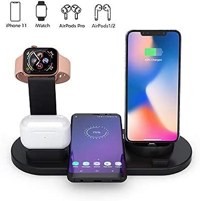 Estación de Carga Inalámbrica 4 en 1 Compatible con Samsung iPhone AirPods Apple Watch iWatch Titular,Fast Cargador Inalámbrico Soporte Base de Carga ...