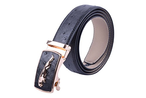 Viamto Men's Ostrich Pattern Genuine Leather Ratchet Dress Belt with Automatic Buckle ()