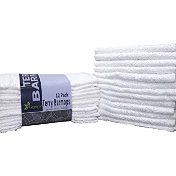 GREEN LIFESTYLE Bar Mops Kitchen Towel Cleaner 12 Pack (16 by 19 inches) Pure Cotton White Dish Cloths, Rags, Restaurant Cleaning Towels and Shop Towels