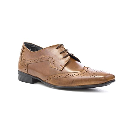 Frank James Mens Tan Leather Lace up Brogue Shoe