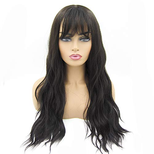 ZM Long Curly Wavy Synthetic Hair Body Wave Wigs for Women Natural Looking Black Wigs with Hair Bangs]()