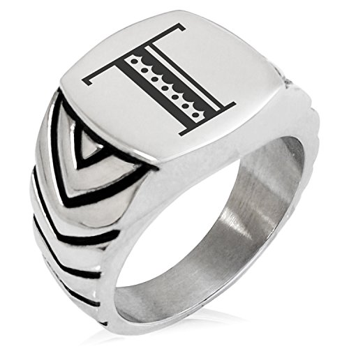 (Two-Tone Stainless Steel Letter T Alphabet Initial Metro Retro Monogram Engraved Chevron Pattern Biker Style Polished Ring, Size 8)