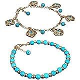 Sumanee Boho Rhinestone Flower Beads Turquoise Foot Chain Anklet