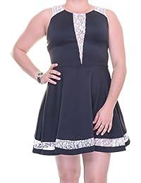 Junior's Lace-Trim Fit & Flare Dress Size M