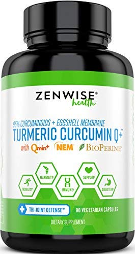 Turmeric Curcumin - with 1000mg 95% Curcuminoids, 500mg NEM Eggshell Membrane & 10mg BioPerine - Joint Supplement with Natural Chondroitin Sulfate & Hyaluronic Acid + Collagen - 90 Capsules
