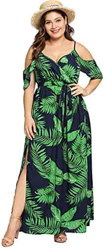 10f718800b6 Milumia Women s Plus Size Cold Shoulder Floral Slit Hem Tropical Summer Maxi  Dress