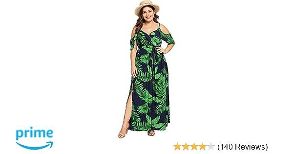 e5c2d287b53c Milumia Women's Plus Size Cold Shoulder Floral Slit Hem Tropical Summer Maxi  Dress at Amazon Women's Clothing store: