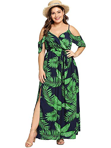 Milumia Women s Plus Size Cold Shoulder Floral Slit Hem Tropical Summer  Maxi Dress a86d57f2d787