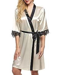 Ekouaer Womens Kimono Robe Silk Satin Bridal Lingerie Short Sleepwear XS-XL
