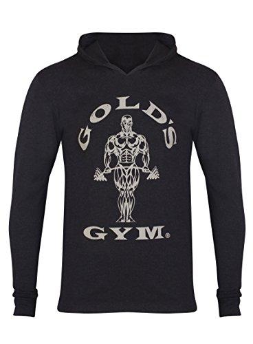 Golds Gym Men's Long Sleeve Hooded T Shirt - US S - Black...
