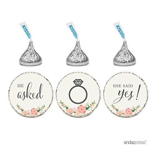 Andaz Press Chocolate Drop Labels Stickers, Wedding He Asked She Said Yes!, Floral Roses, 216-Pack, for Bridal Shower Engagement Hershey's Kisses Party Favors Decor ()