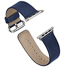 Apple Watch Band Series 1/Series 2, iitee Genuine Leather Strap Band for Apple Smart Watch Replacement with Metal Buckle (42mm blue)