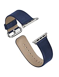 Apple Watch Band Series 1/Series 2, iitee Genuine Leather Strap Band for Apple Smart Watch Replacement with Metal Buckle (38mm blue)