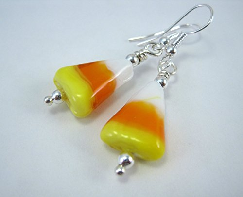 Orange and Yellow Glass Candy Corn Dangle Earrings by ArtsParadis