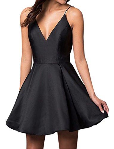 - VinBridal Spaghetti Straps Satin Short Ball Gown Homecoming Dresses with Pocket Black 8