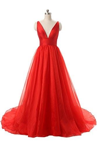 Sexy Cou V Profond Des Femmes Angela Longue Robe De Bal Robes De Soirée En Soirée Rouge