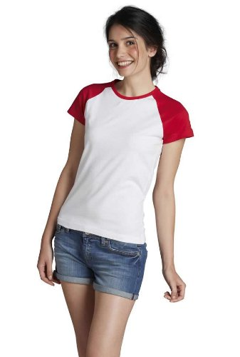 Donna Bicolore Manica t Royal blu Bianco milky shirt Sols qTtwAXt