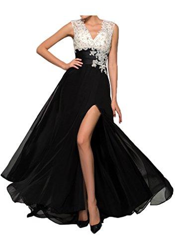 Gorgeous Bride Modisch V-Ausschnitte A-Linie Lang Chiffon Satin Tuell Spitze Schlitz Abendkleider Abendmode Ballkleider