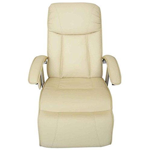 SKB Family Cream White Electric TV Recliner Massage Chair Full Gravity Heat Back