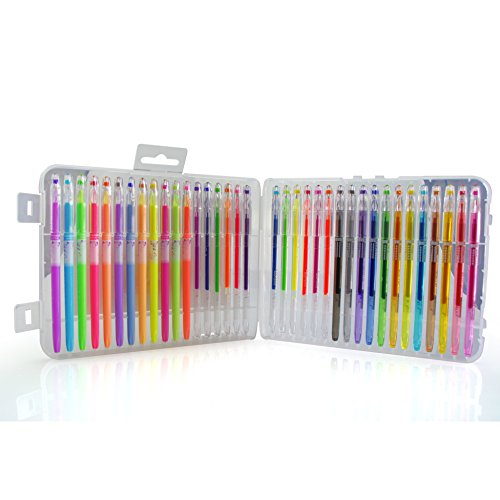 BFU Multi Colored Gel Pen Set with Case, Perfect for Drawing, Party Invites, Coloring, Writing and More