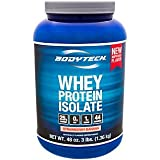 Cheap BodyTech Whey Protein Isolate Powder with 25 Grams of Protein per Serving BCAA's Ideal for PostWorkout Muscle Building Growth, Contains Milk Soy Strawberry Banana (3 Pound)