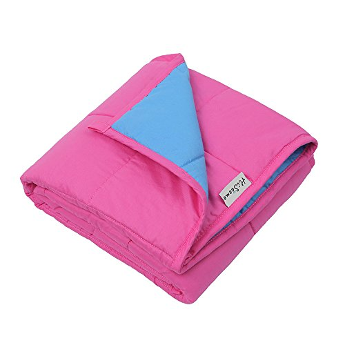 Hiseeme Anxiety Weighted Blanket (41''x60'', 12lbs, 100% Cotton Fabric, Rose/Blue) for Kids | Compression Therapy for Autism, ADHD, Insomnia and Stress | Fit Twin Sized Bed by Hiseeme