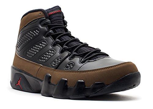 Jordan Air 9 Retro Men's Basketball Shoes Black/Varsity Red-Light Olive 302370-020 (13 D(M) US)